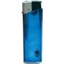 46054-lesklý modrý/strieborný vrch zapaľovač plniteľný so svetlo